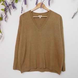 J. Crew Carmel Tan V Neck Wool Blend Sweater